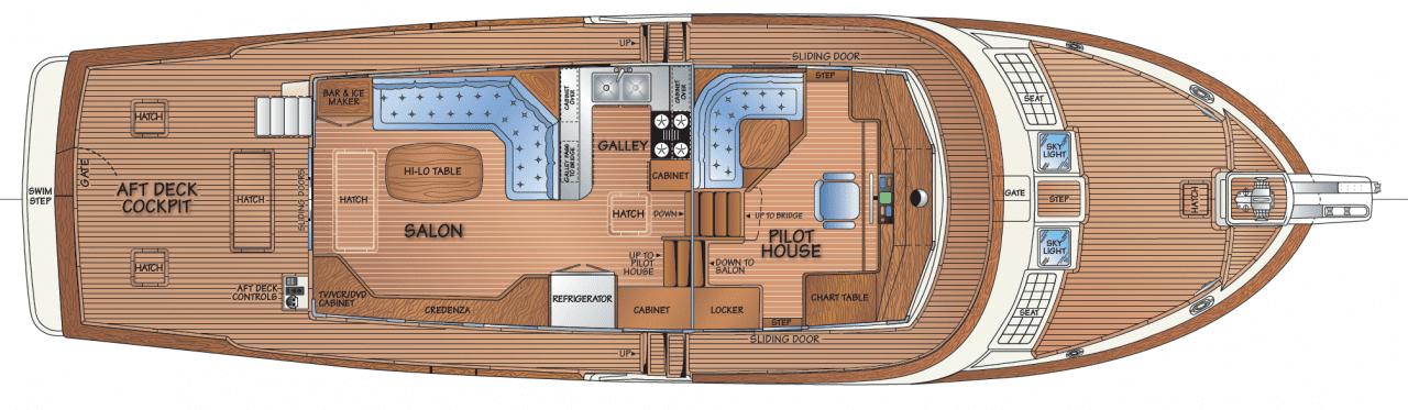 Main deck - salon & pilothouse