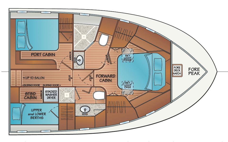 3 cabin 2 head accommodation - w/VIP port