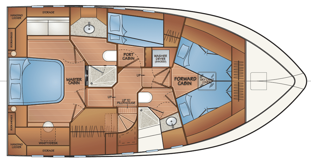 Accommodation - option C - v-berths in forward cabin