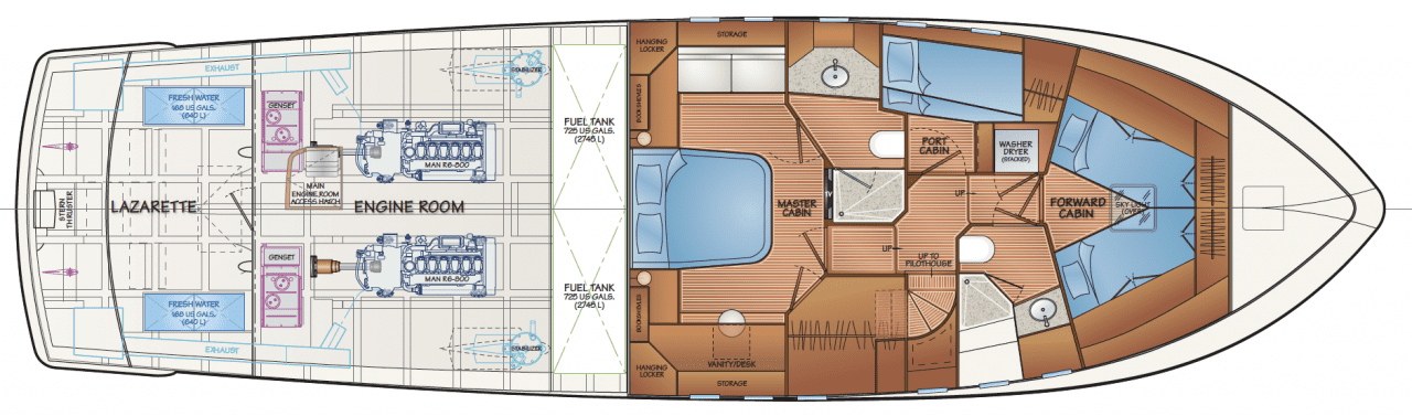 Engine room w/accommodation - option C - v-berths in forward cabin (shown w/optional man R6-800 engines)