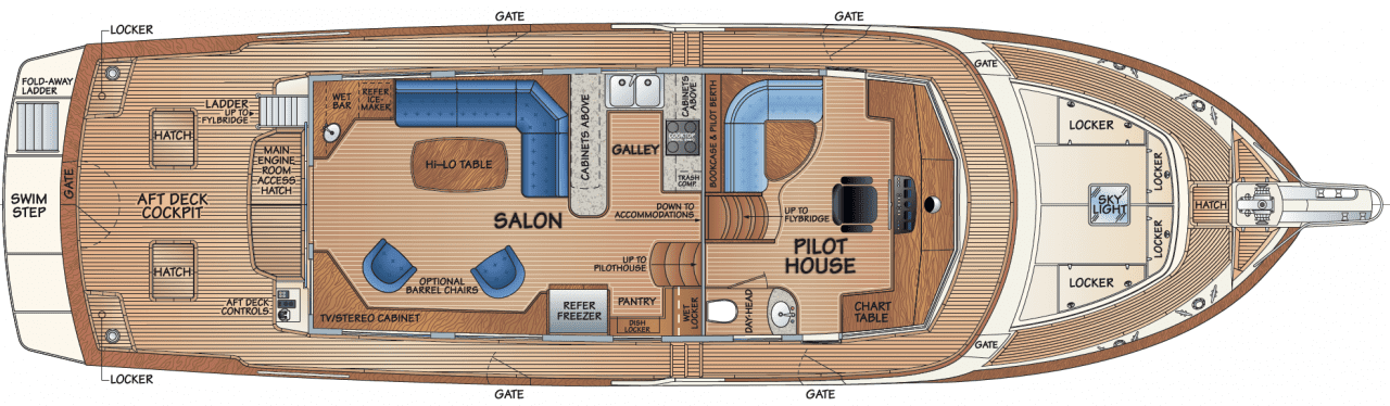 Main deck - salon option 1 & pilothouse w/dayhead