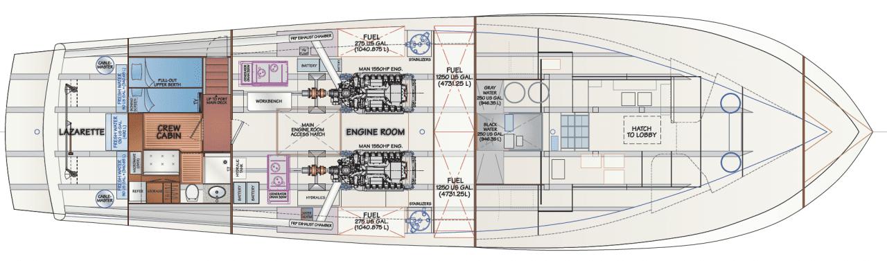 Engine room - crew cabin
