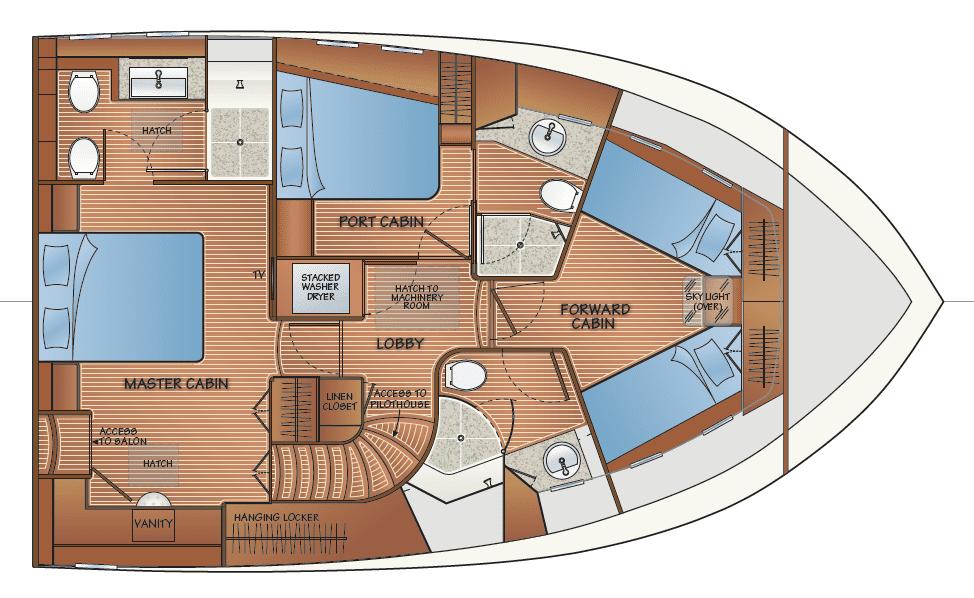 Accommodation w/salon access to master cabin - option 2