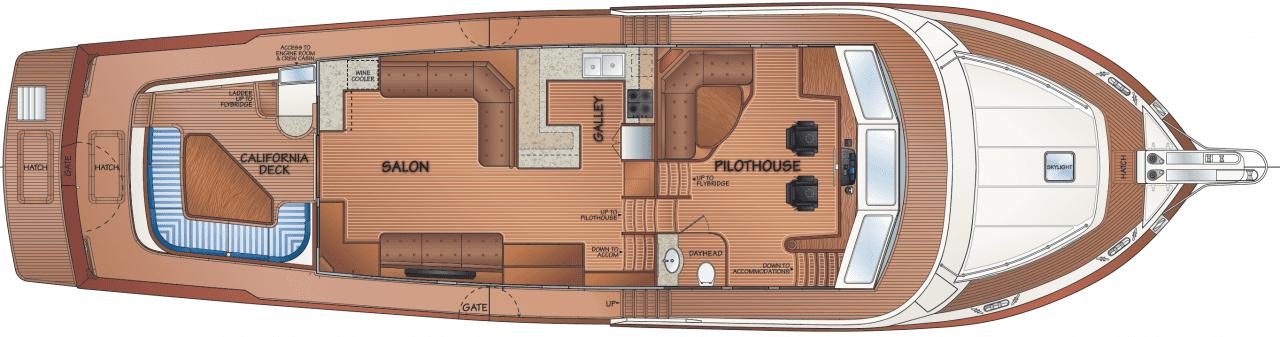 Main deck w/master cabin access from salon