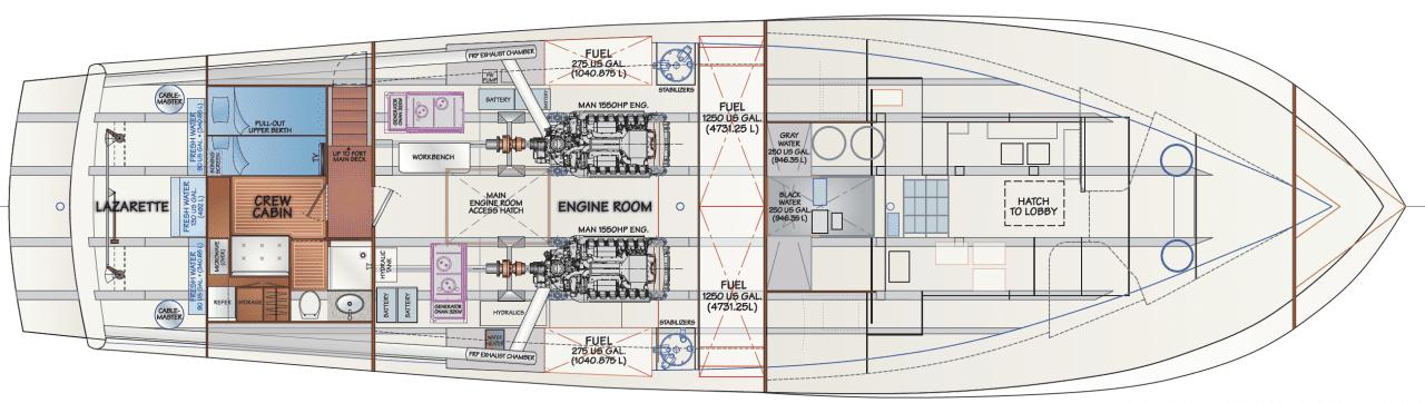 Engine room, crew cabin