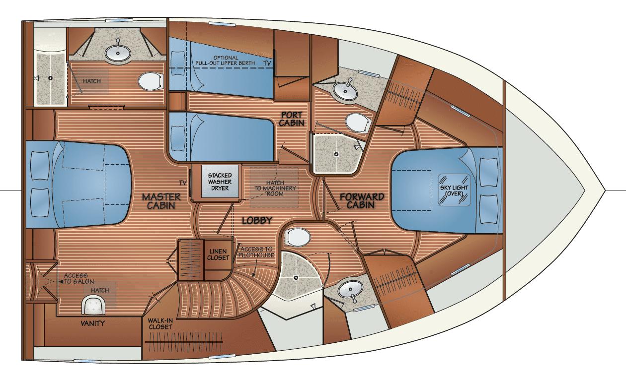 Accommodation w/salon access to master cabin - option 1