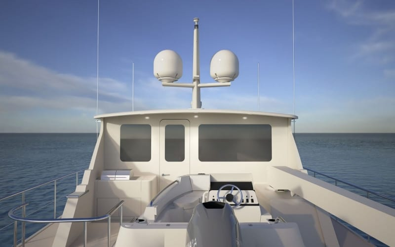 Enclosed boat deck looking forward