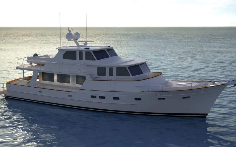 A side view of an artists's impression of the new Fleming 85