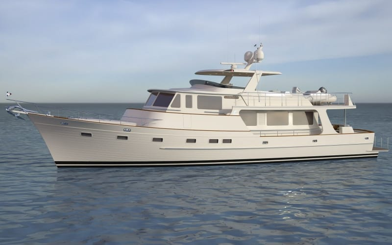 An artist's impression of the new Fleming 85 yacht